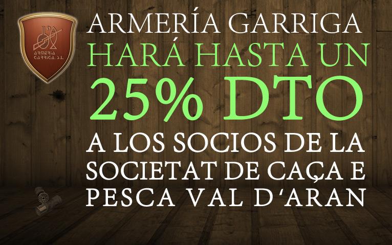 La Societat de Caça e Pesca dera Val d'Aran llega a un acuerdo con Armería Garriga para que los socios tengan hasta un 25% de descuento