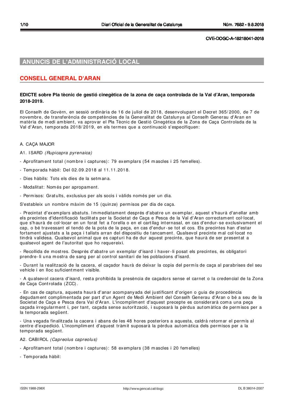 ORDEN DE VEDAS TEMPORADA 2018 – 2019